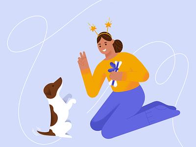 Training 🐶 training vector christmas girl animals texture characterdesign design character procreate illustration