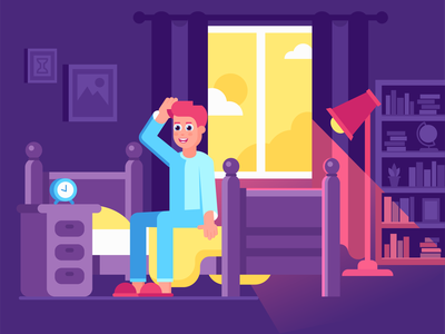 Good Morning ☀️ smile lifestyle health room 2d boy morning flat design characterdesign character illustration
