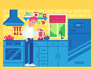 Healthy Eating 🥬🍎 illustrator ai kitchen eat cooking lifestyle health boy 2d vector flat design characterdesign character illustration
