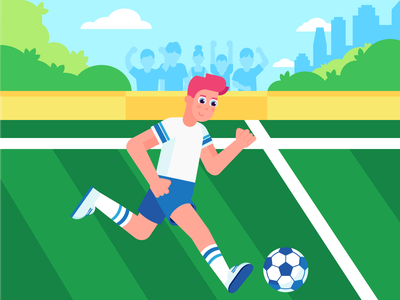 Healthy body game football sport health lifestyle boy 2d flat characterdesign character design illustration