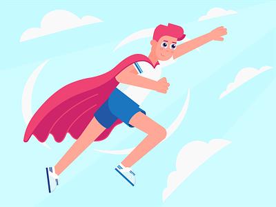 Set goals superman goals lifestyle health boy vector 2d flat design characterdesign character illustration