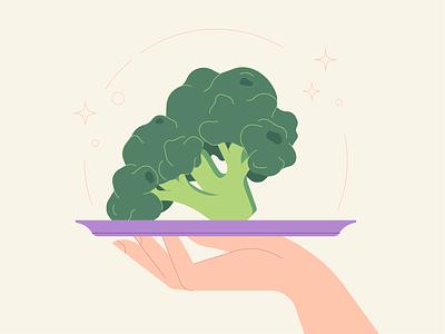 Broccoli 🥦 character hand vegetables ai food broccoli vector 2d flat illustration