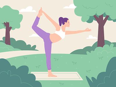 Yoga pose calm trees girls yoga flat design vector 2d characterdesign character illustration