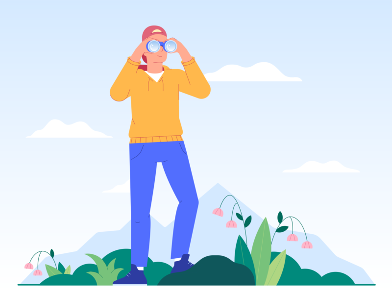 Hiking design nature vector travel binoculars hiking flat boy 2d characterdesign character illustration
