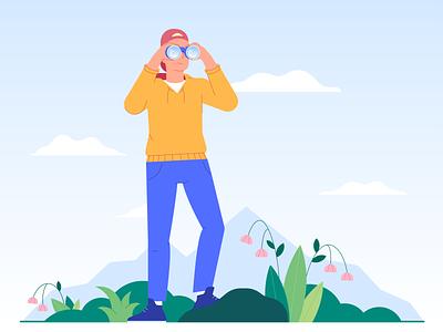 Hiking design nature vector travel binoculars hiking flat boy 2d characterdesign character illustration