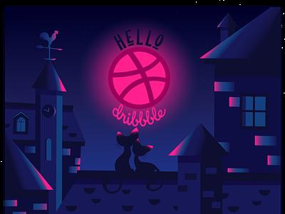 Hello Dribbble gradient night flat illustration cat hellodribbble design