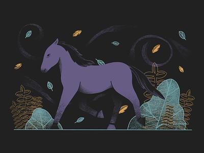Horse in the night wind ipad pro texture night horse leaves dark autumn characterdesign character animals procreate design illustration