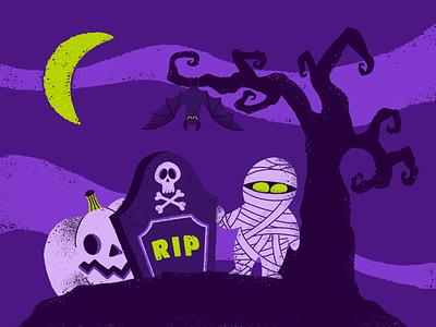 Hello Halloween 🎃👻 pumpkin mummy halloween vector dark night texture flat characterdesign character procreate design illustration