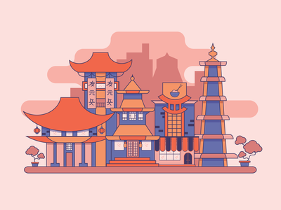 China Town 🏯 houses graphic town china city vector flat design illustration