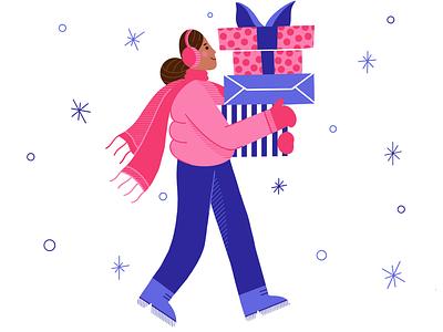 Merry Christmas 🎁 procreate winter present girl design flat character christmas illustration