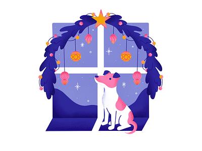 My dog 🐶 vector design window christmas dog animals texture character procreate flat illustration characterdesign