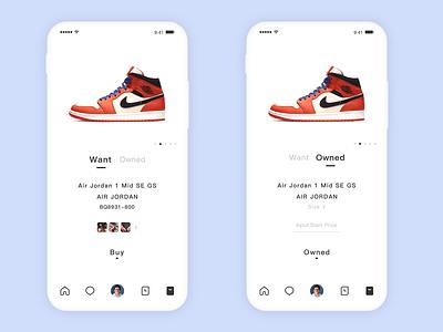 Shopping Interface app ux ui design