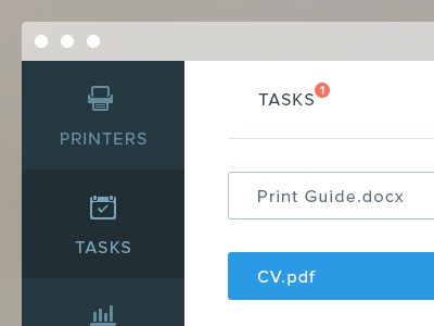 Printer Dashboard dashboard flat minimal clean ui task