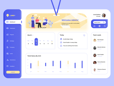 Employee Management Dashboard ui design uiux ux uxuidesign ui branding yellow dashboard design dashboard ui website mobile design blue management employee exploration app wvelabs