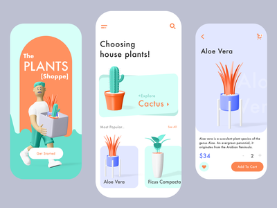 Plants App Exploration 3d character cart shopping app ecommerce plants app indoor plants plants ui design green orange 3d ui app ux exploration wvelabs mobile ui design app design