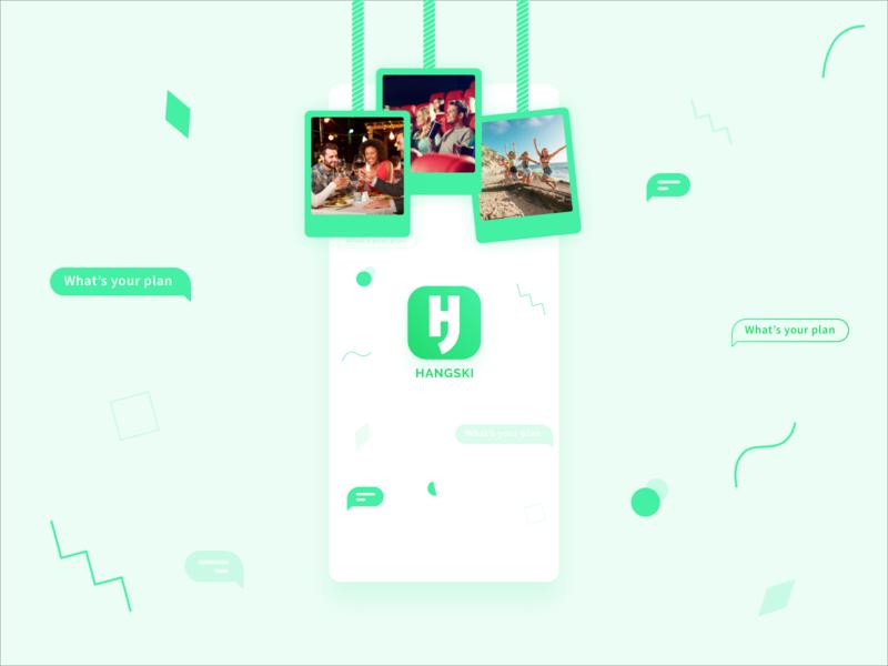 Hangski - Hang with Friends! branding ui ux  ui ui design uidesign launch screen freinds family social app social network social wvelabs gradient green design mobile ui design app design