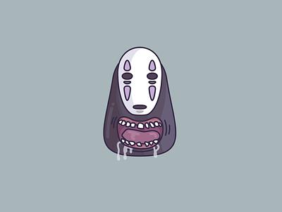 No-Face vector art jamilla grannetia illustration flat icon line art kaonashi studio ghibli noface