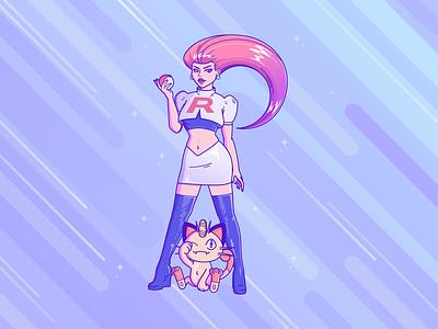 Prepare for trouble - Jessie 'Team rocket' meowth 90s cartoon anime art graphic design pastel art pokémon team rocket jessie female pastel icon vector milibu jamilla grannetia graphic illustration line art vector art