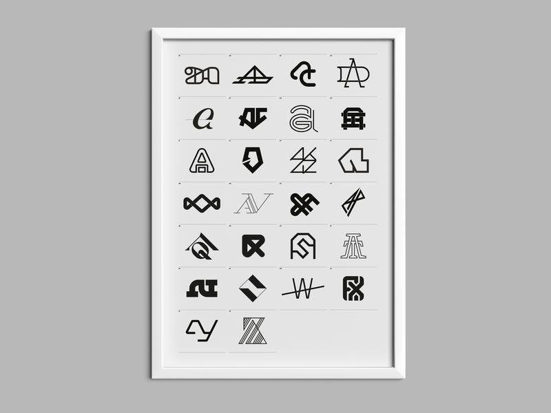 AA — monogram Poster vector poster collection mockup typography type monogram logo monogram minimal logo a day logo branding poster art design poster