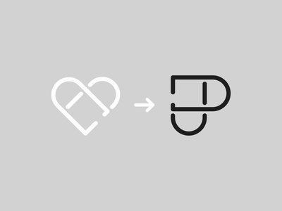 DJ Heart — Monogram dj heart lettering monogram logo monogram vector illustrator identity typography minimal logo a day type logo branding design