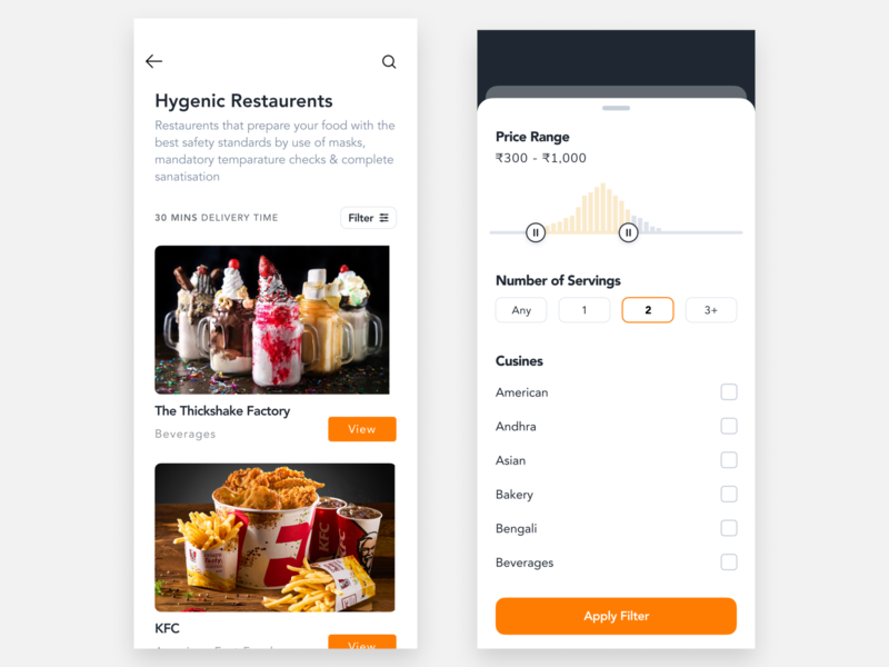 Simple Filter For a Food App figma aftereffects interaction design ui motion design animation minimal design