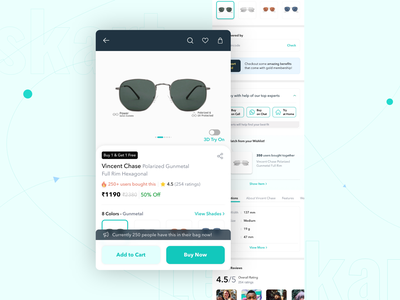 Product Details Page Redesign - Lenskart minimalist ux ui minimal ecommerce design ui presentation ios presentation ux design ui design sketch product detail page online shopping eyewear ecommerce redesign design