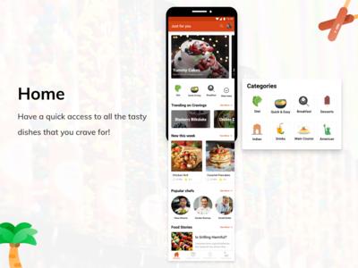 Home Screen Design for Cravings App