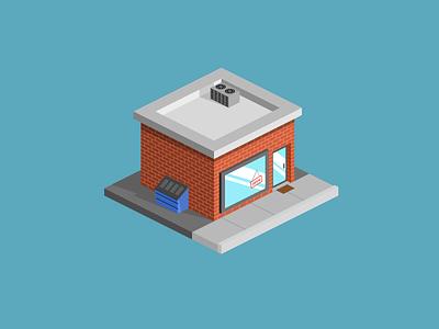 The Little Shop illustration simple isometric