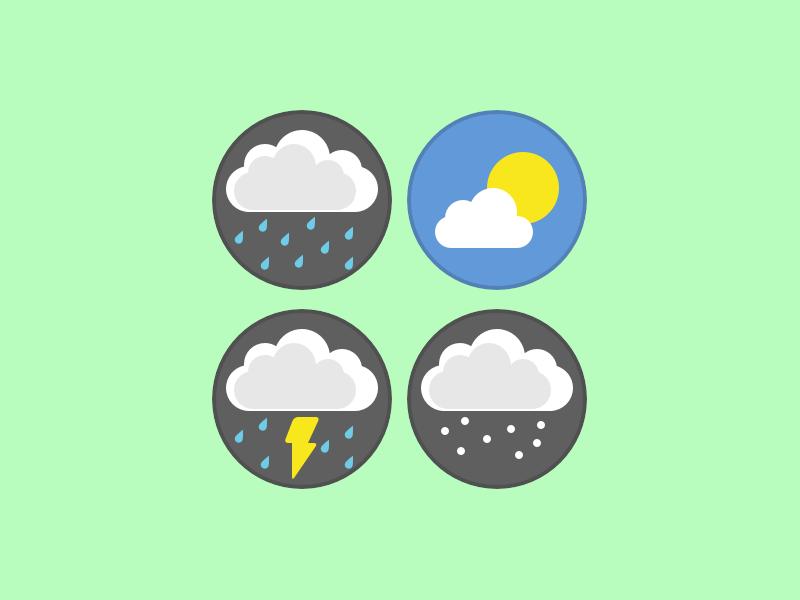 Cloudy Weather dreary icons meteorology sun lightning thunder rain snow storm