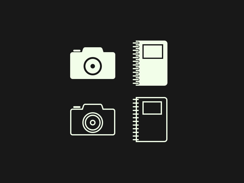 Camera and Notebook simple minimal line icon notes photography