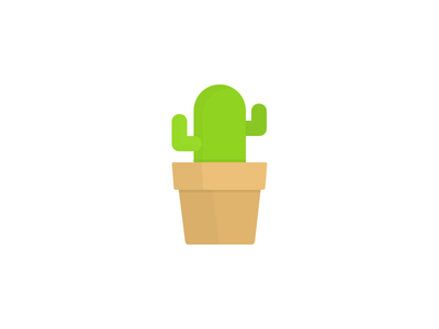 Little Cactus cactus simple tiny potted desert plant cute flat icon