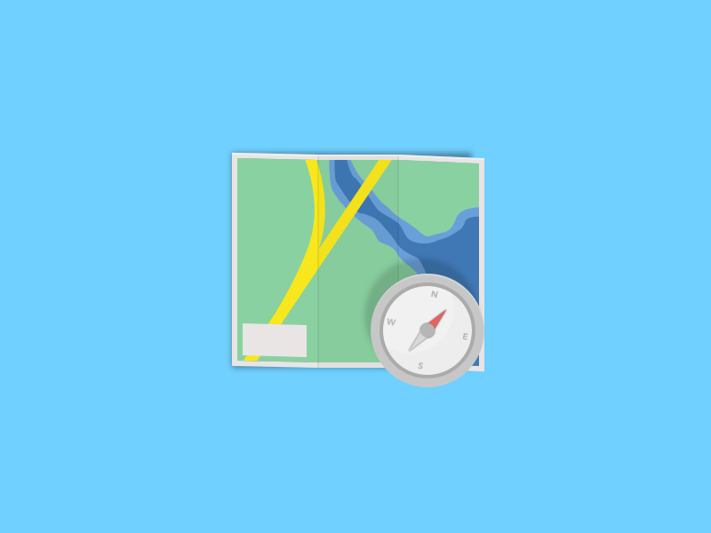 Navigation Revisited explore compass directions map flat icon