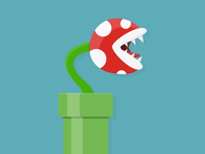 Piranha Plant illustration shading simple gaming nintendo game plant flat