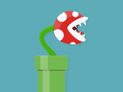 Piranha Plant illustration shading simple gaming nintendo game plant flat
