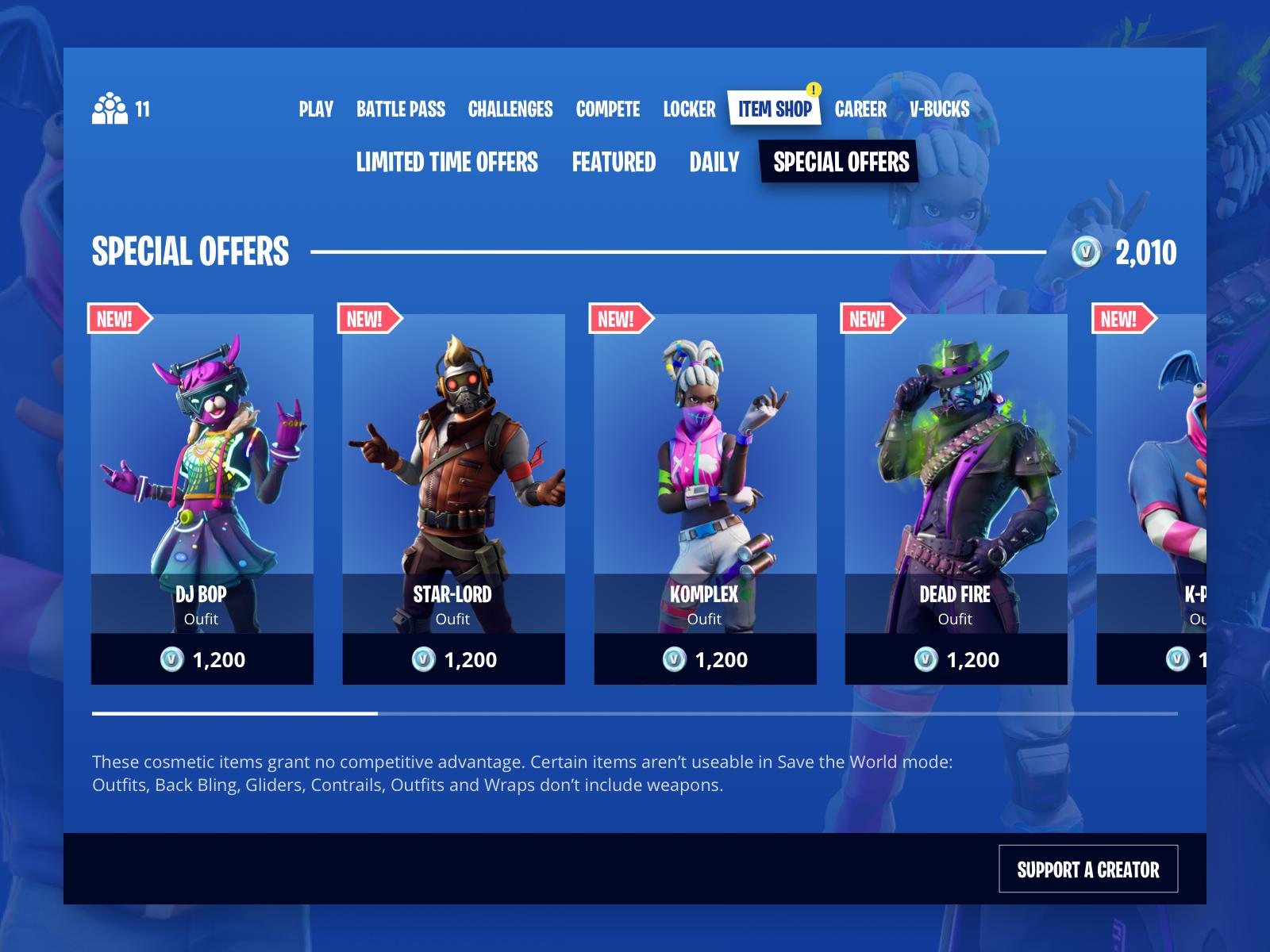 Fortnite Item Shop UI