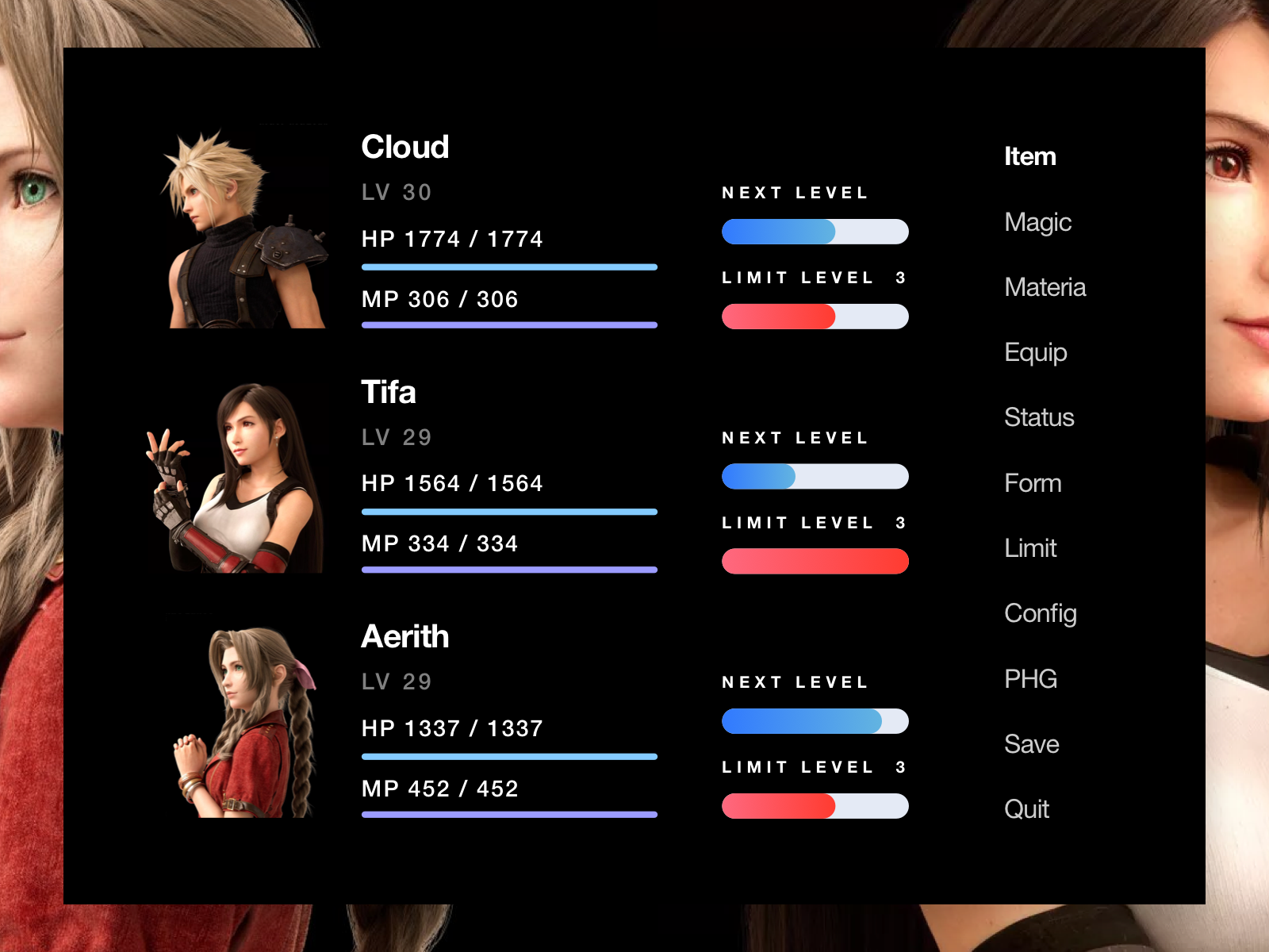 FF7R Original Menu UI