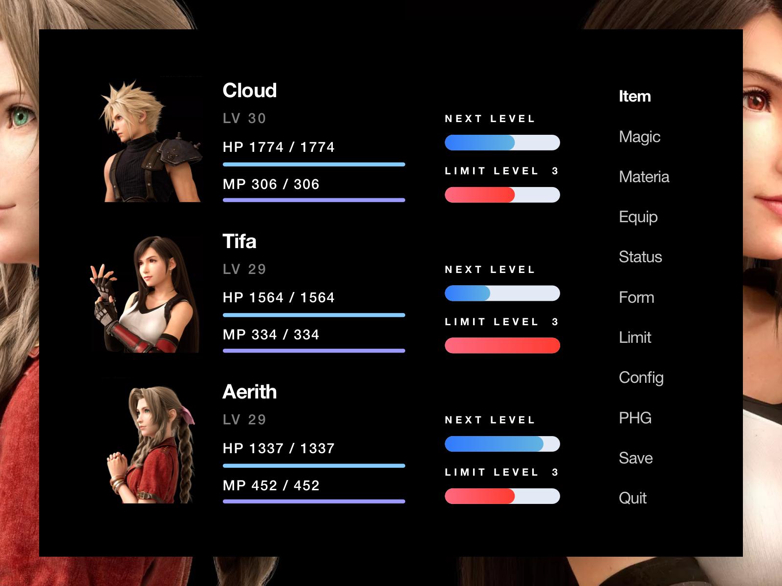 FF7R Original Menu UI