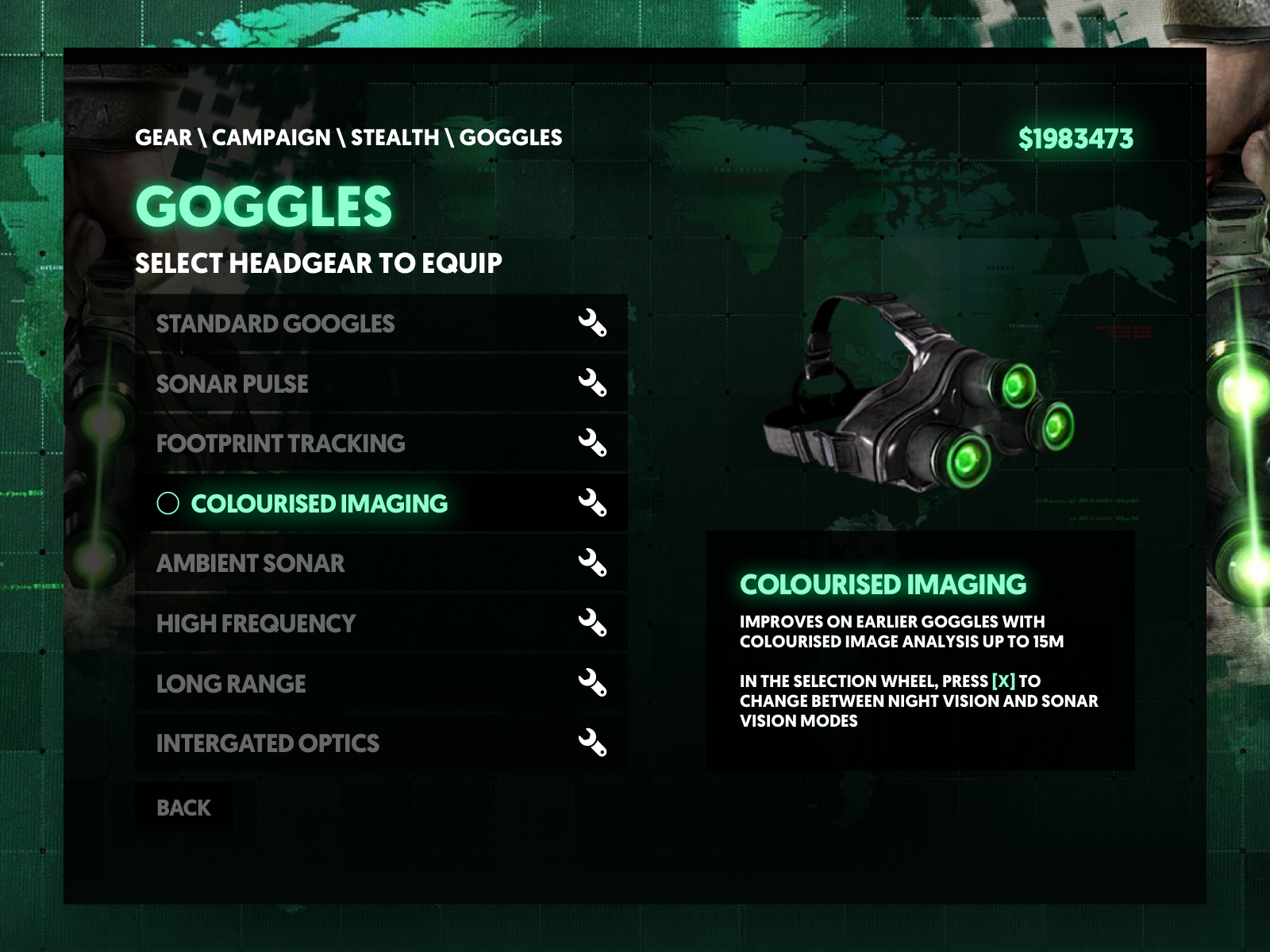 Splinter Cell Blacklist Equip UI