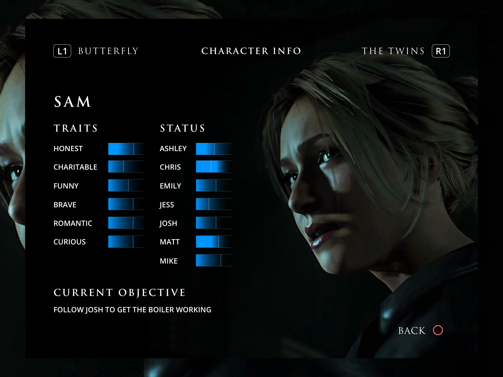 Until Dawn Character Info UI
