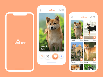 Shiber logo graphic design product design orange peach love heart swipe shiba inu shiba dog lover dog app design ux design ui design white design clean ux ui