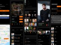 Grindr UI - Android social app community design android user interface black orange social media ux design user interface design ui design product design chat app gay chat lgbtq gay grindr social app design app