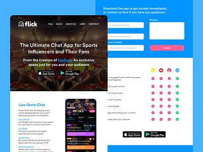 Flick -  Home Refresh blue ux design ui design user interface ui websites digital design social chat app sports chat sports app sports graphic design design social media brand website design web design website web