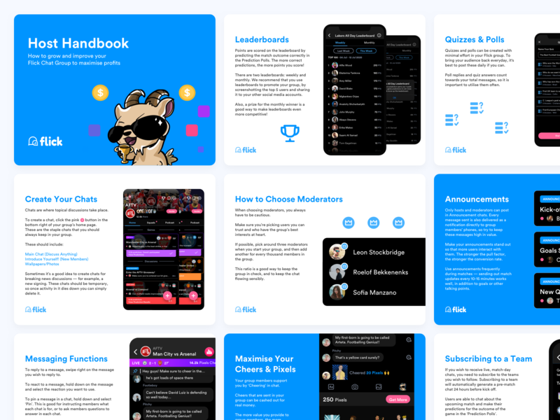 Flick - Host Handbook interface walkthrough community sports chat sports identity brand print design print ui design app design app product design pdf tutorial handbook ux design ux user interface ui