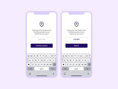 Scottish Tiers App user interface design white clean simple purple product ux design ux lockdwon app design app design product design pandemic covid-19 covid19 covid user interface ui design ui