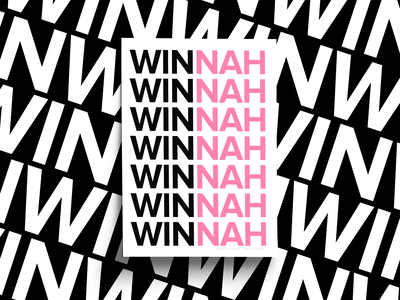 Winner black pink sans serif print design graphic design poster design clean simple no nah win font type typography winner poster collection poster series posters poster
