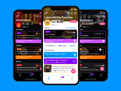Flick - New Design & 10+ Million Messages quiz poll games game chat group chat group nfl american football baseball basketball football user interface product design redesign ux design ui design sports ux ui