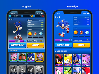 Sonic Forces Redesign ui design ui ux design ux game interface game ui clean simple blue sonic the hedgehod sonic forces sonic interface design interface user interface app design app game design game