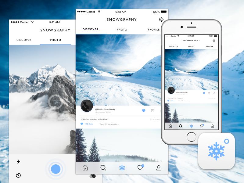 Snowgraphy Concept UI alpine blue user interface clean simple app design daily ui camera snow ux ui design ui