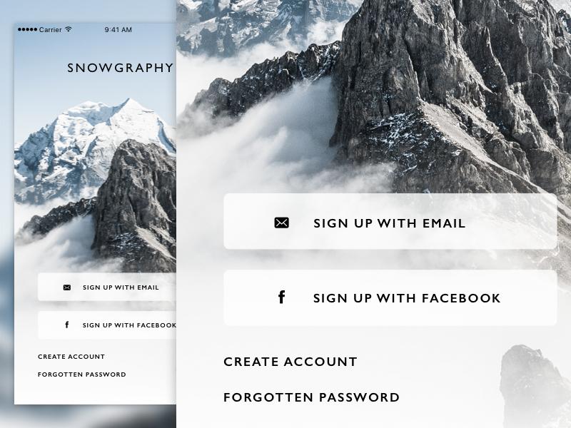 Snowgraphy Login ui ui design ux snow camera daily ui app design simple clean user interface blue alpine