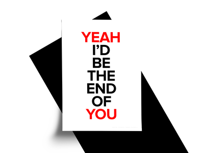 Yeah You poster series you yeah minimalism minimal red typography art font posters poster collection sans serif poster monochrome type typography simple design white clean black